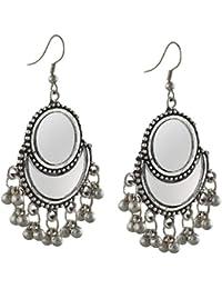 Zephyrr Jewellery German Silver Afghani Dangler Hook Earrings Mirrors