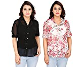 2Day Women's Straight Top(Pack Of 2)(FO TOP PCK 2 BLACK/FLORAL-M_Printed_Medium)