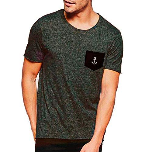 Viento Basic Pocket Herren T-Shirtmit Brusttasche (Grau, S)