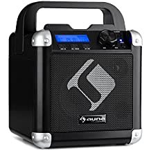 auna BC-1 • sistema karaoke • sistema mini-sound • sistema karaoke • display LCD • potenza di uscita RMS 15 watt • Bluetooth • ingresso USB • Peso: 1,9 Kg • batteria • tracolla • robusto • nero