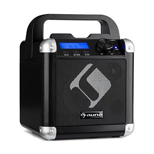 auna BC-10 • Chaîne karaoké • Mini système Son • 15 Watts RMS de Puissance • Interface Bluetooth • Batterie intégrée • Faible Poids • Bandoulière • Woofer de 10 cm • Lumières de fête • Noir