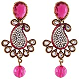 Ganapathy Gems Mango Design With Kundan Stones Pink Metal Dangle & Drop Earrings For Women