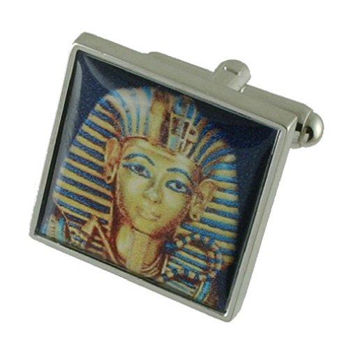 Boy King Egipto–Heavy Weight Gemelos de plata de ley 925+ caja Gemelos de mensaje de regalo personalizada
