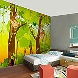 Fototapeten Kinderzimmer Affen Dschnungel 352 x 250 cm Vlies Wand Tapete Dekoration Wandbilder XXL Moderne Wanddeko - 100% MADE IN GERMANY - Grün Wald Runa Tapeten 9041011b Test