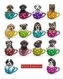 Poster Keith Kimberlin - Welpen in Tassen Hund Hunde Labrador Schäferhund - Größe 40 x 50 cm - Miniposter