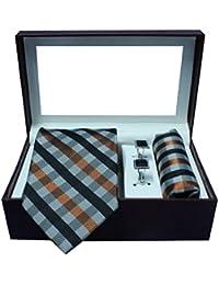 Riyasat - Check Design Multi Color Micro Fibre Men,s Tie, Cufflink and Pocket Square Gift Set .(S_ 127)