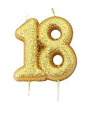 Idea Regalo - Anniversary House Candelina di Compleanno Oro Brillante 18 Anni Taglia Unica