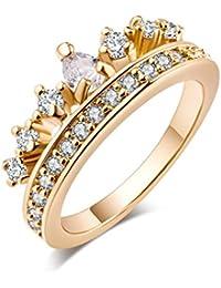 Yazilind oro plateado joyas circulares de cuentas Zircon cúbico mujeres anillo de bodas de oro anillo