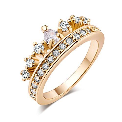 Yazilind 18k Gold überzogene Königin-Kronen-Form Zirkonia Anhänger Ring für Frauen & Mädchen (Größe 47)
