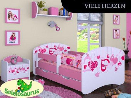 Kinderbett Viele Herzen - inkl. Schubladen und Matratze viele Farben (180 x 90, Rosa)