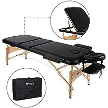 Lettino da massaggio Deluxe a 3 sezioni.Lettino da massaggio portatile e leggero con gambe in legno per Massaggi Thai, Spa, Tatuaggi, massaggio di guarigione Svedese di MARNUR