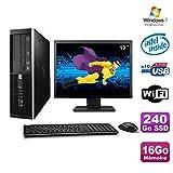 Lot PC HP Elite 6000 Pro SFF E5400 2.7 GHz 16 GB 240Go SSD WIFI W7 Pro + Screen 19