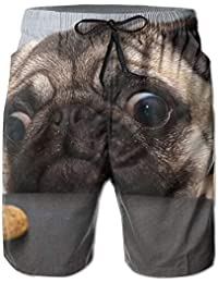 Funny Dog Humor Pug Men s Boys Casual Shorts Swim Trunks Swimwear Elastic  Waist Beach Pants efb0b4fce23