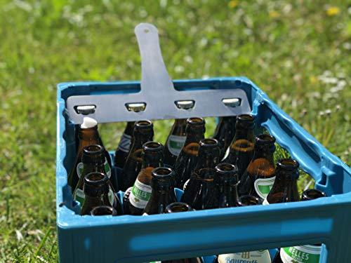 BiKaTi 4er Flaschenöffner aus Edelstahl - Bierkastenflaschenöffner - Mehrere Flaschen auf einmal öffnen - Geschenkidee (A)