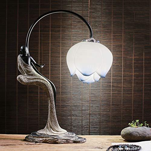Minimalistische Tischlampe Neue chinesische Art Retro LED-Harz-Schreibtischlampen, Moderne Kunst Lotus-Nachttischlampe dekoratives Licht, Esszimmer-Schlafzimmer-Tabellen-Lampen-Schreibtisch-Lampe -