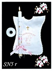 Idea Regalo - Candela per battesimo personalizzata per bambina, vestitino, battesimo, candela regalo (SN5), Tessuto, Pink, 34x28mm