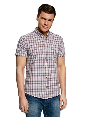 oodji Ultra Herren Tailliertes Kurzärmeliges Hemd, Weiß, 44cm/DE 56/XL (Ereignis Männer Schuhe)
