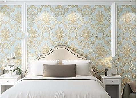 Jardin de style européen de gaufrage profond des tissus non tissé papier peint papier peint 0.53m*10M,Light Blue