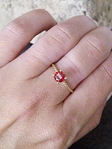 Round garnet ring, gold ring, simple ring, january ring, birthstone ring, rope ring, wrap band,gift