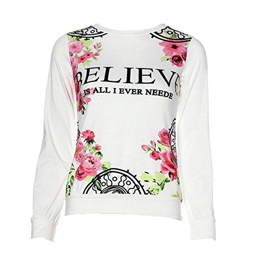 Ineternet Femmes Floral imprimer Sweatshirt Hoodies T-Shirts Manche longue vrac Blouse (L, Blanc) Ineternet