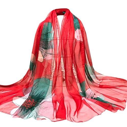 OverDose Damen Schal, Fashion Lady Tücher Blumen Lange Wrap Frauen Schal Chiffon Schal Seide Schals Halstuch
