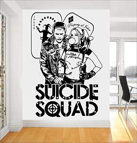 Namefeng Zitate Selbstmordkommando Wandtattoo Harley Quinn & Joker Dc Aufkleber Für Kinder Schlafzimmer Vinyl Kunstwand Task Force X Wohnkultur 42X62 cm