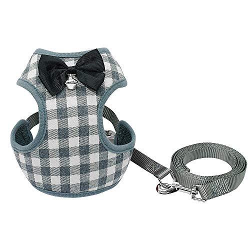 XJZxX Kleines Hundegeschirr Und Leine Set Haustier Katzenweste Geschirr Mit Bowknot Mesh Für Kleine Welpen Hunde Chihuahua Yorkies Pug (Farbe : Gray, größe : S) -