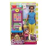 Barbie Métiers Coffret poupée Maîtresse d'école aux cheveux châtains avec figurine élève blonde, tableau et accessoires, jouet pour enfant, FJB30...