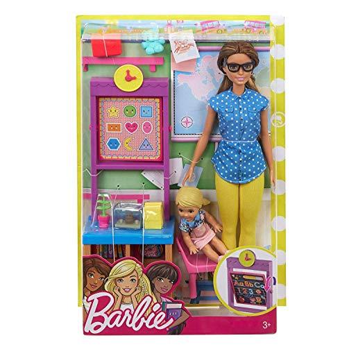 Barbie FJB30 Lehrerin Puppe (brünett) und Spielset