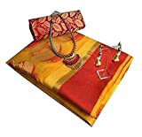 purvi fashion Cotton Saree With Blouse Piece (all new mataka.._Yellow_Free Size)