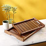 Artysta Handicraft Wooden Tray/Decorative Wooden Tray For Table Decor, Home Decor, Dining And Serving And Gifts| Set Of 2