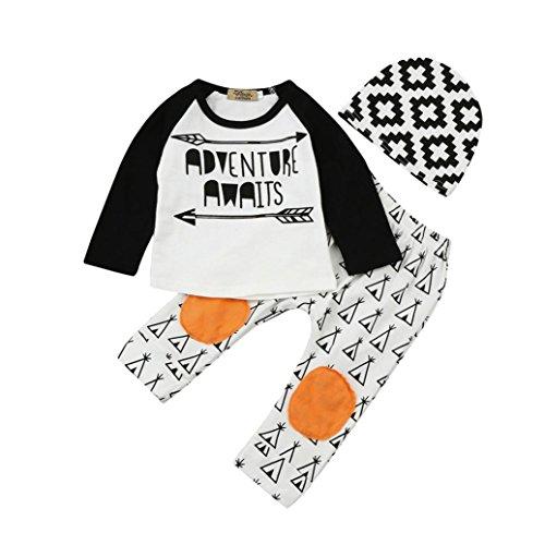 Amlaiworld winter Baby Muster druck Flickwerk warm langarmshirt Säugling hosen hut pulli,0-24Monate (Weiß, 6 Monate) (Hut Und Outfit Cardigan)