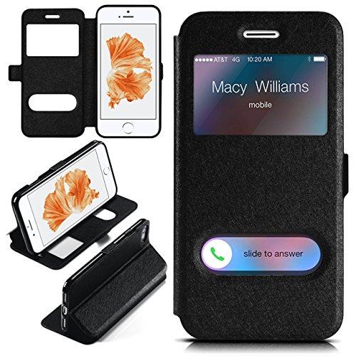 iPhone 7/8 Hülle mit Sicht-Fenster Schwarz [OneFlow Comfort Cover] Stand-Funktion Schutzhülle Ultra-Slim Handyhülle für iPhone 7/8 Case Flip Handy-Tasche SCHWARZ