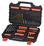 Black and Decker A7200 - Pack de 109 piezas para atornillar y taladrar, brocas titanio, color negro y naranja