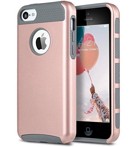ULAK iPhone 5c Hülle, iPhone 5c Case Dual Layer Hybrid Schutzhülle Hart PC + TPU Weiche Stoßfest Tasche Case Cover für Apple iPhone 5c (Rosé Gold + Grau)