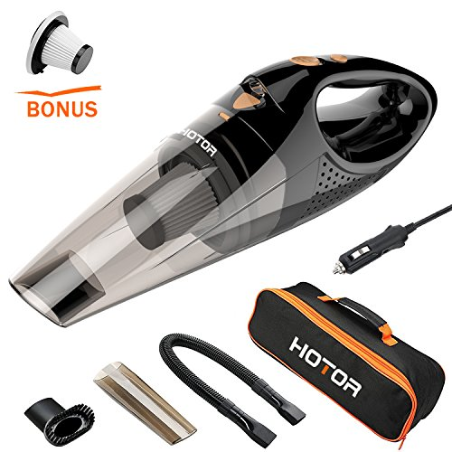 Price comparison product image [URPGRADED]Car Vacuum Cleaner, HOTOR DC12-Volt 106W Wet&Dry Portable Handheld Auto Vacuum Cleaner for Car,14FT(5M)Power Cord with Carry Bag(Black)