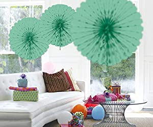 Folat 60370 - Abanico Decorativo (45 cm), Color Verde Menta