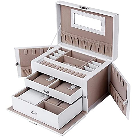 Songmics Portagioie a forma di valigetta con serratura, specchio, 4ganci, JBC121W