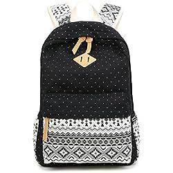 Backpack Mochilas Escolares, Mujer Mochila Escolar Lona Grande Bolsa Estilo Étnico Vendimia Casual Colegio Bolso Para Chicas (Negro)