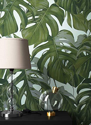 NEWROOM Blumentapete Tapete Grün Blumen Blätter Floral Vliestapete Weiß Vlies moderne Design Optik Blumentapete Modern inkl. Tapezier Ratgeber