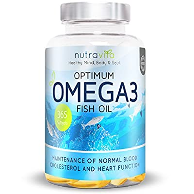 Optimum Omega 3 1000mg 1 Year Supply Pure Fish Oil with EPA & DHA by Nutravita | 365 Soft Gel Capsules | Made in the UK
