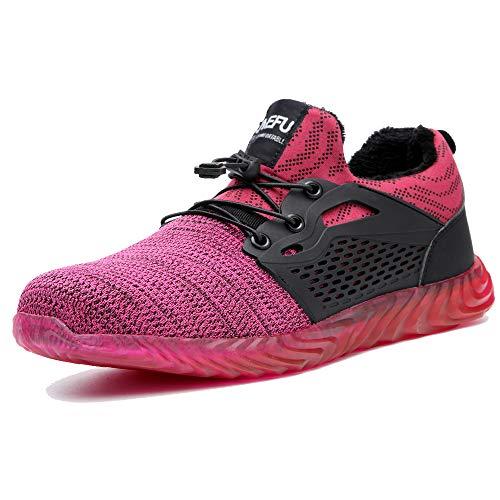 Arbeitsschuhe Herren Sneaker Sicherheitsschuhe Damen Stahlkappe Schutz Turnschuhe Sportlich Stiefel Mesh Leicht Wandern Pink-Pelz EU39