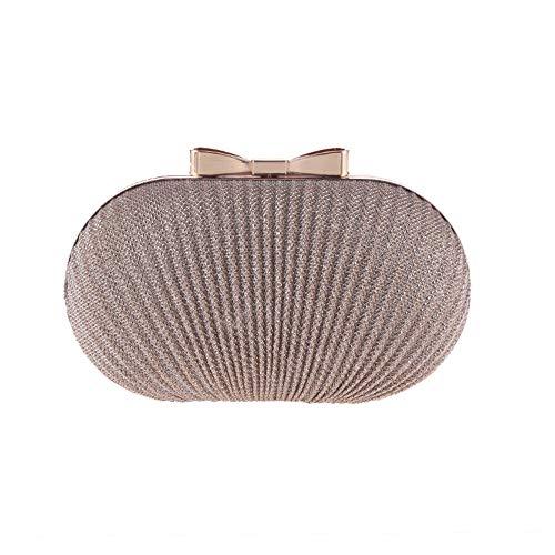 LLUFFY-Clutch Handtasche Damen Abendessen Tasche Exquisite Gold Plissee Tasche Kleid Party Tasche Schulter Diagonal Tasche, 19 * 12 * 5 cm, Champagner -