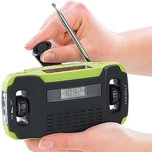 infactory Kurbelradio: Batteriefreies Solar- & Dynamo-Koffer-Radio mit LED-Lampe (Notfallradio)