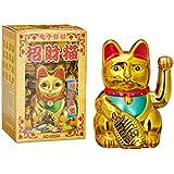 Relaxdays Maneki-Neko chat chinois porte-bonheur  Asie Chine Japon Thailande Doré 8 x 10 x 16 cm
