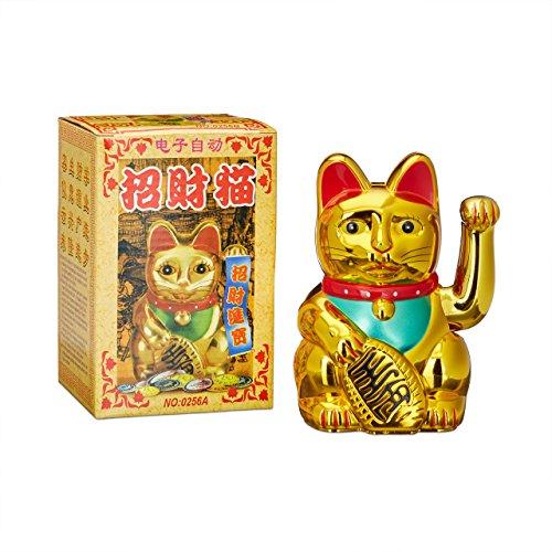 El gato de la suerte es un clásico asiático.En China, Japón, Taiwan y Tailandia se encuentra de frente a tiendas, grandes almacenes y restaurantes.Debería dar suerte a muchos clientes. En la mano derecha lleva el Koban, una moneda de oro, que signifi...