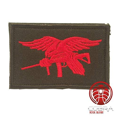 Cobra Tactical Solutions US Navy Seals Special Ops Flagge Bestickt Schwarz weiß mit Klett Airsoft Us-navy
