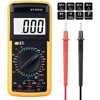 DT-9205A LCD Digital Multimeter Messgerät Kapazität hFe OHM A V inkl 9V Batterie