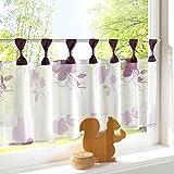 HongYa Bedruckte Scheibengardine Transparenter Voile Cafe Vorhang Blumenmotive Bistrogardine mit Schlaufen H/B 45/120 cm Beere