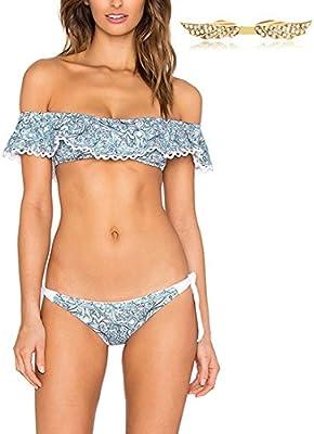 BYD Mujeres Bikinis Conjuntos Push Up Bañador Hombro Plana con Volantes Coloridos Ropa de baño 2pcs Bandeau Tops + Shorts